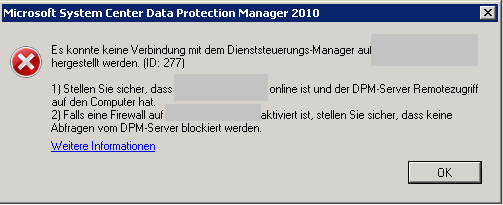 Microsoft DPM Agent installation failed with error code id 277